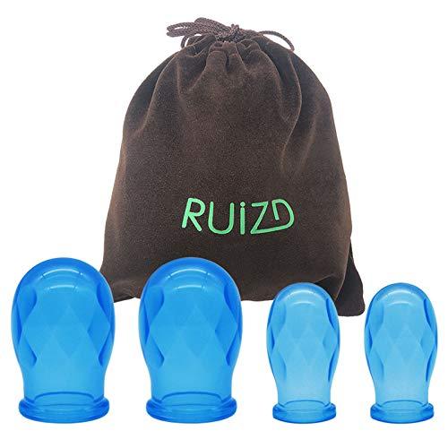 Silikon Schröpfen Schröpfen Silikon Vakuum Anti Cellulite Schröpfen Therapie Set Schönheitstherapie Massage Cup (Blau-4pcs)