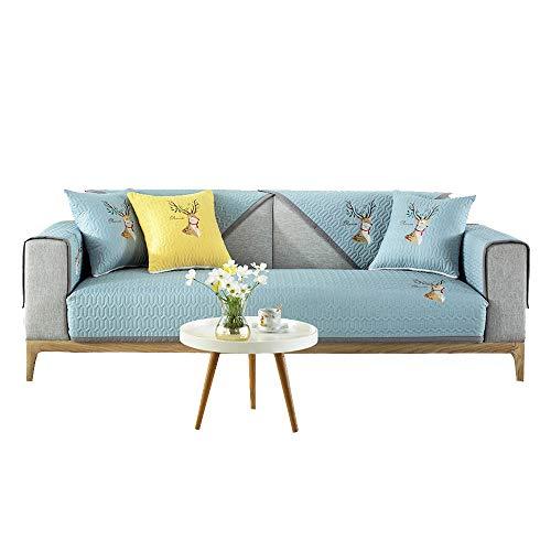 YUTJK Cojín de sofá Bordado de Ciervos,Antideslizante Funda De Sofá,Funda Cubre Sofá Color Sólido,Funda para Sofá Forma L,Toalla De Sofá Cuatro Estaciones,para Verano,Azul
