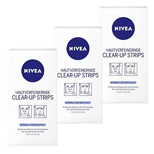 3 x Bandes NIVEA Clear-Up Strips Nez Strinb Chin Peau normale et mixte