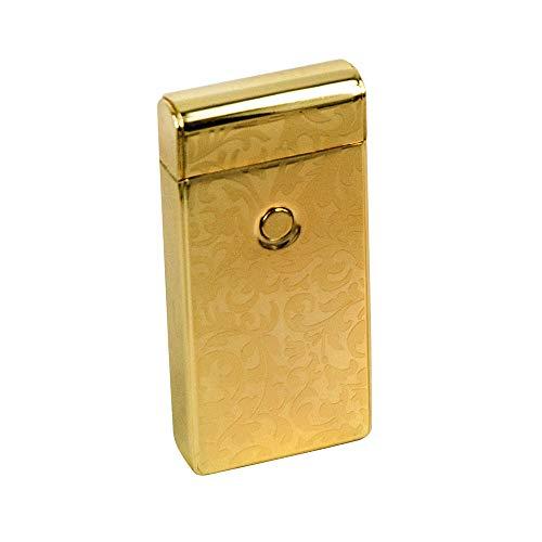 Preisvergleich Produktbild iProtect elektronisches Feuerzeug Zigarettenanzünder aufladbar mit USB Anschluss und Ladekabel Oriental Design in gold