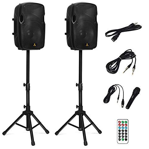 AKUSTIK Dual 2-Way Powered PA Speaker System, Portable DJ Speaker with Active +...