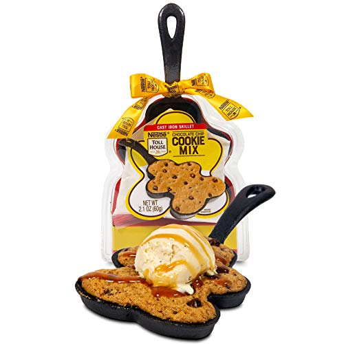 Image of the Thoughtfully Gifts, Nestle Toll House Chocolate Chip Cookie Mix: Gingerbread Man Cast Iron Skillet Edition, Includes Chocolate Chip Cookie Mix and Mini Cast Iron Skillet
