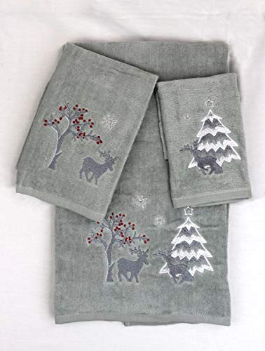 Marina Decoration Christmas Premium Luxury Decor Ultra Soft 100% Cotton Embroidered Bathroom Modern 3 Piece Towel Set, Silver Red White Color Silver Deer Pattern
