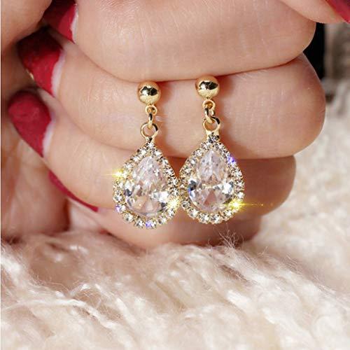 Earrings for Women Best Gifts Sleek Minimalist Style Water Drop Studded Zircon Ladies Earrings Jewellery Sets for St.Patrick's Day in (Gold)