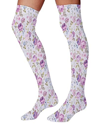 Comfort Moisture Wicking Cushion Novelty Athletic Stockings Polyester,Floral Pattern Pastel Tones Love and Adoration Theme Lovely Leaves Petals