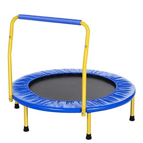 ANCHEER Trampolin Indoor Kinder Fitness Trampoline 91cm,Kindertrampolin Kleines Mini Für Outdoor/Dri (Blau)