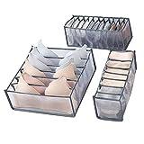 Organizadores de cajones divisores 3 paquetes de guardarropa plegable cubos de almacenamiento contenedores separadores para el hogar para guardar calcetines, sujetadores, corbatas, bufandas
