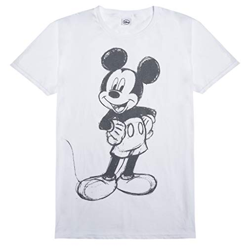 Popgear Disney Mickey Mouse-skizze Herren-t-Shirt Weiß, Bianco, XXL Uomo