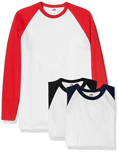 Fruit of the Loom Baseball Classic Long Sleeve Camiseta, Blanco Negro/Blanco Azul Marino/Blanco Rojo, XXL (Pack de 3) para Hombre