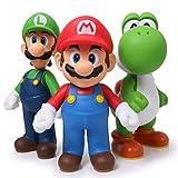 EASTVAPS 3 unids Super Mario Bros Mario Yoshi Luigi PVC Figura de acción de colección Modelo de Juguete 11-12cm