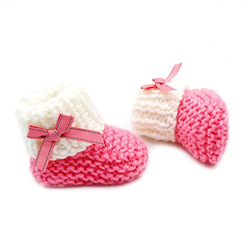 Magic Needles 4070 Babyschuhe, handgestrickt, Türkisches Garn, Rosa/Weiß, Pink (Mehrfarbig), 3-6 Monate