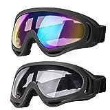 Mehomei Gafas de Esquí, Anti-Niebla Gafas Esqui Snowboard con Protección UV 400, Resistentes al Viento,Lentes Anti-Reflejo para Mujer Hombre,Chicos y Chicas, 2 Piezas