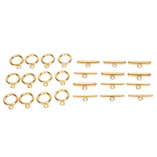 OT Hebilla, collar de pulsera, cierre de conexión Hebilla de joyería Dorada 12 piezas Acero inoxidable para joyería
