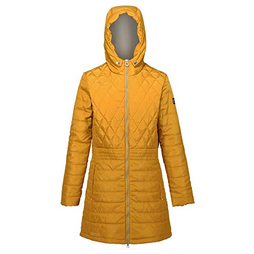 Regatta Parmenia - Chaqueta acolchada con capucha plegable para mujer, Mujer, Chaqueta, RWN157 4S308L, Semillas de mostaza, 36