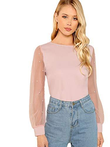 DIDK Damen Elegant Blusen Chiffonbluse Rundhals Einfarbig Langarmshirts Perlenbesetztes Mesh-Oberteile Mit Perlen Pink XS