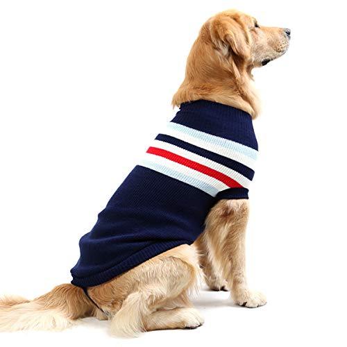 Caldo maglioncino a righe per cani, lavorato a maglia, adatto per i mesi invernali, veste cani di taglia piccola, media e grande