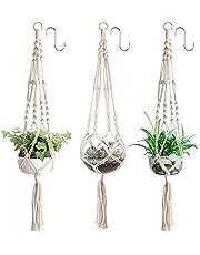 YHmall Set van 3 macramé-plantenhangers, katoenen touw, hanglampen, 3 haken, bloempot, plantenhouder, hangers voor binnen en buiten, plafonds, balkons, wanddecoratie, 104 cm, 4 poten