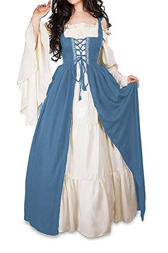 Abaowedding Womens's Medieval Renaissance Costume Cosplay Chemise and Over Dress (L/XL, French Blue)