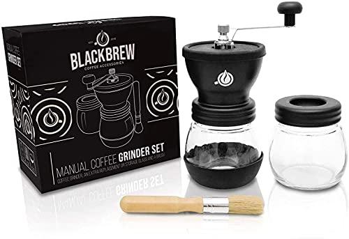 BLACKBREW Manuelle Kaffeemühle - Keramikmahlwerk und Extra-Behälter mit Pinsel - Einstellbare Premium Espresso Handmühle