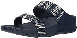 Midnight Navy Flare Strobe Slide Sandals with Rhinestones