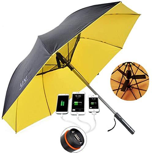 扇風機付き日傘 フ晴雨兼用 UVカット8本骨高強度グラスファイバー 耐風撥水軽量 スポーツ観戦 遮光 紫外線対策 熱中症対策長時間の外出に 2色,イエロー