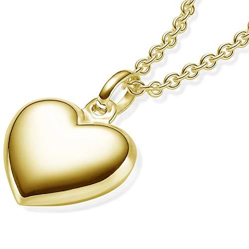 Herzkette Gold Damen-Kette (Silber 925 vergoldet) +GRATIS Etui mit Gravur Echt-Silber Goldkette Herz-Anhänger Halskette Herzchenkette Gelbgold Frauen Freundin klein filigran Echtschmuck FF74VGGG45