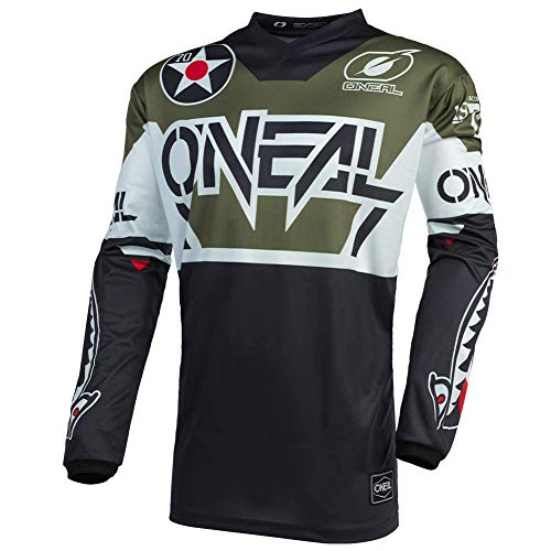 O'NEAL | Motocross-Trikot | Enduro Motorrad | Passform für Bewegungsfreiheit, Gepolsterter Ellbogenschutz, Atmungsaktives Material | Jersey Element Warhawk | Erwachsene | Schwarz Weiß Grün | Größe L
