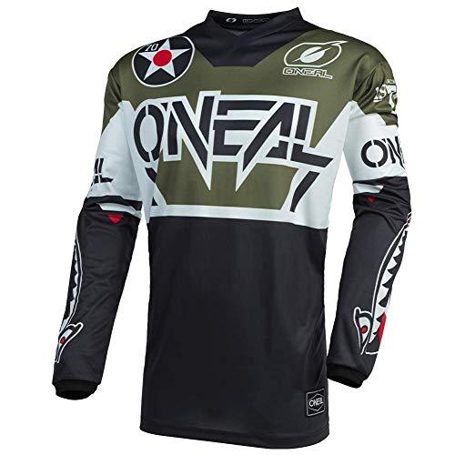 O'NEAL | Motocross-Trikot | Enduro Motorrad | Passform für Bewegungsfreiheit, Gepolsterter Ellbogenschutz, Atmungsaktives Material | Jersey Element Warhawk | Erwachsene | Schwarz Weiß Grün | Größe M