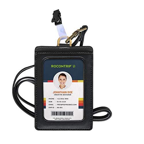 Badge Holder, ROCONTRIP Plastic ID Badge Card Holder, RFID Blocking Vertical ID Badge Holder with Neck Lanyard/Strap for Office ID, School ID (2)