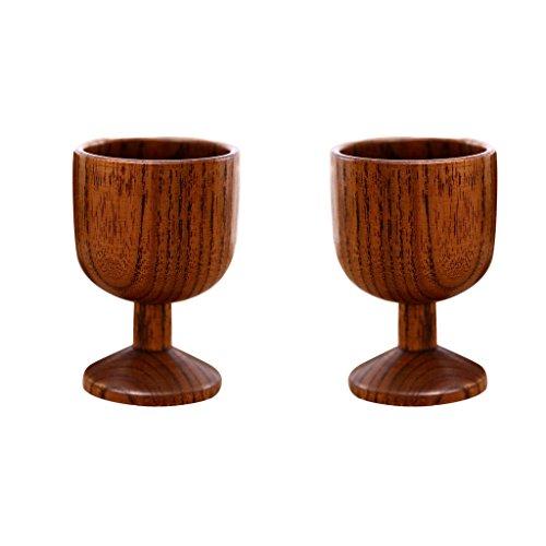 Homyl 2 Pièces Gobelet En Bois Naturel Tasse De Vin Rouge Tasse De Bière Partie 7cm Brun