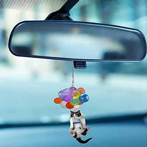 MYJP Bonito colgante de gato para coche, con globos de colores, para el espejo del coche, accesorio para el espejo del coche (lindo gato)