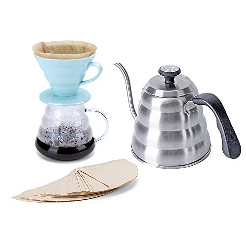 Pour Over Coffee Maker Set - Includes Coffee Carafe Pour Over Coffee Kettle with Thermometer (1.2L up to 40 oz.), V60 Paper Coffee Filter, Coffee Dripper and Coffee Server