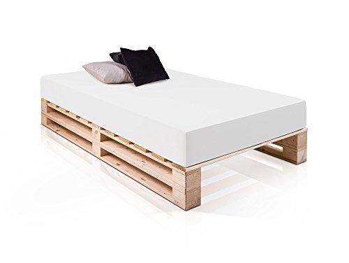 PALETTI Massivholzbett Duo Holzbett Palettenbett Bett aus Paletten mit 11 Leisten, Palettenmöbel Made in Germany, 140 x 200 cm, Fichte Natur