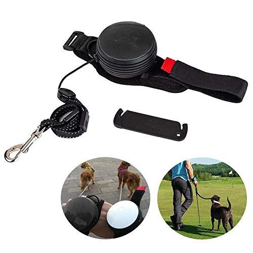 Einziehbare Versenkbare Hundeleine, Führleine Nylon Haustier, Handgelenk-Zugseil mit Licht Ideal, zum Wandern Geeignet, Für Kleine Bis Große Hunde 3M(30KG) (Color : Black)