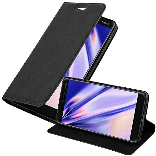 Cadorabo Hülle für Nokia 6.1 2018 in Nacht SCHWARZ - Handyhülle mit Magnetverschluss, Standfunktion & Kartenfach - Hülle Cover Schutzhülle Etui Tasche Book Klapp Style