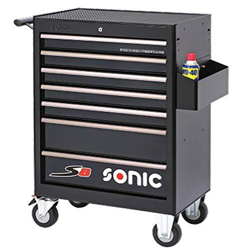 Sonic S8 Werkstattwagen - 206-teiliger Werkzeugwagen mit Arbeitsfläche, mit Profi-Werkzeug gefüllt, Kugelgelagerte Schubladen mit Umkippschutz, Zentralverriegelung, Schwarz