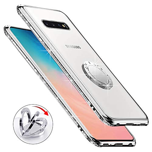 Newseego Kompatibel mit Samsung Galaxy S10 Plus S10+ Hülle, Glitzer Schützende Langlebige TPU Mädchen Niedlichen Telefon Hülle, 360°Drehung Bling Diamant Strass Stoßring für Galaxy S10+ - Transparent