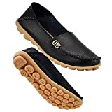 DUOYANGJIASHA Women's Comfortable Leather Loafers Casual Round Toe Moccasins Wild Driving Flats Soft Walking Shoes Women Slip On Black