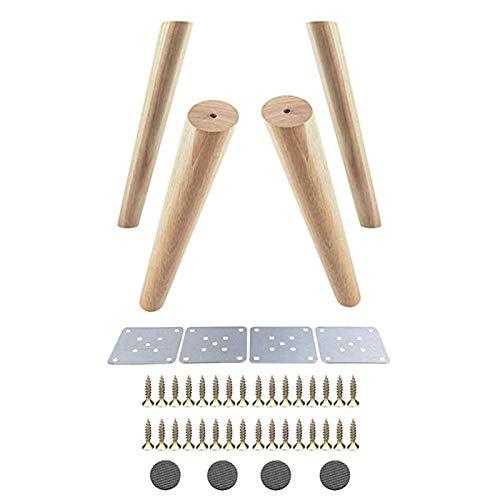 Pies de Muebles Madera de Roble 300x48x30mm Altura fiable Inclinado Muebles Pierna con Hierro Placa de los pies del sofá Tabla Armario Juego de 4 Mueble
