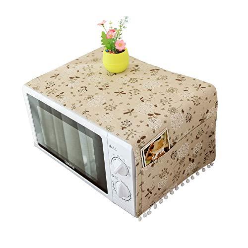 IUTOYYE Cubierta para horno de microondas a prueba de polvo con bolsillos laterales de almacenamiento protector de máquina decorativo para electrodomésticos de cocina accesorios de decoración (B)