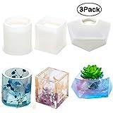 Molde de silicona de resina, de Velidy DIYResin, incluye moldes redondos, cuadrados, de silicona hexagonal para hormigón, posavasos, macetas, ceniceros, portavelas 3Pack(round+Square+diamond)