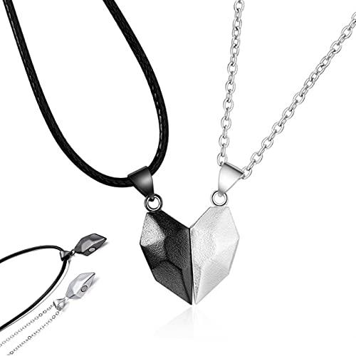 Cadena Yin Yang Corazón Rompecabezas Colgante Imán Collar Amor Collar Magnético Parejas Collar de Relación Collar de Medio Corazón Collar Corazón Rompecabezas para Hombres y Mujeres Rgalos 2 Piezas