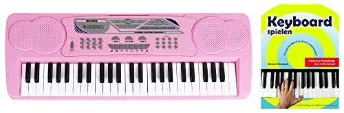 McGrey BK-4910PK Keyboard - Kinder Keyboard mit 49 Tasten - Einsteigerkeyboard mit 16 Sounds und 10 Rhythmen - Piano mit Lernfunktion, Mikrofon für Gesang und Notenständer - Mit Schule - Pink