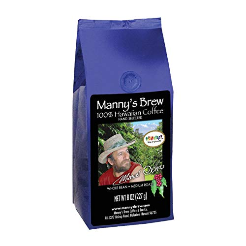 Manny's Brew Hawaiian Coffee – 8 Ounce Medium Roast Authentic Whole Bean Coffee – Award-Winning Hawaiian Grower's Choice – Smooth, Intense Flavors with Citrus, Sandalwood and Milk Chocolate Notes