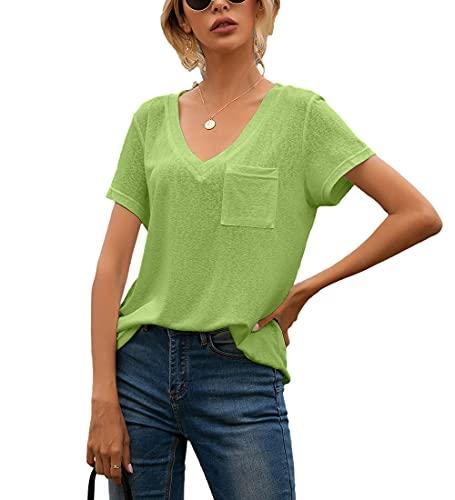 Tops Mujer Cómodos Bolsillos con Cuello En V Decoración Mujer Camisa Generoso Temperamento Informal Personalidad Transpirable Elasticidad Verano Única Mujer Blusa H-Green M
