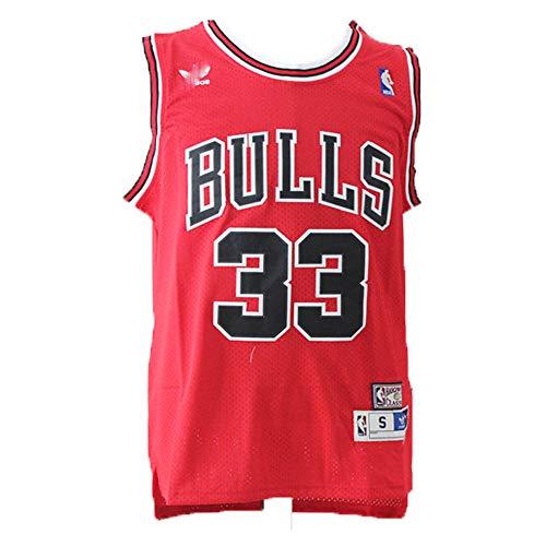 LAMBO Herren-Basketball-Jersey Chicago Bulls Scottie Pippen # 33, Breathable Schaukel Man Jersey Fans Sport Ärmel T-Shirt (L)