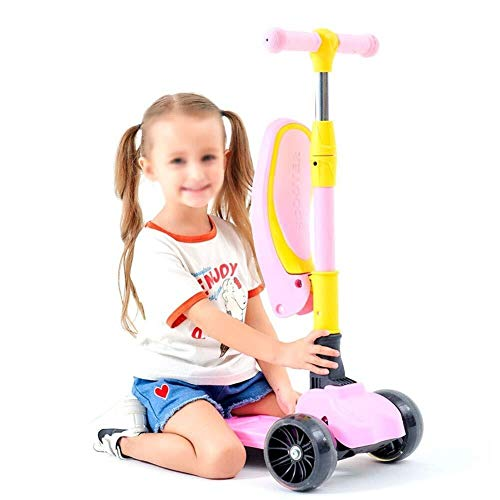 Review LAOHAO 3-Wheeled Girl Kick Scooter Mini Stroller with Folding Seat and Mini Flash Wheel Scoot...