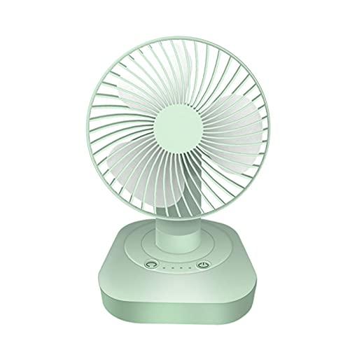 Ventilador de escritorio USB pequeño, silencioso, 3 velocidades, para oficina, dormitorio (diseño giratorio a 60°), ventilador portátil recargable, silencioso con fuerte viento (B-1)