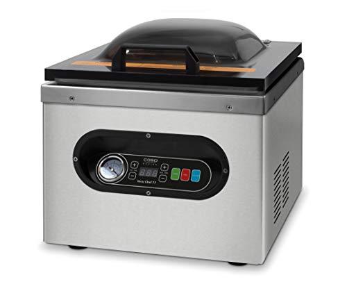 Caso Vacu Chef 77 -Kammervakuumierer aus Edelstahl, starke Vakuumpumpe 77 Liter/Minute, Vakuumierer mit doppelter Schweißnaht, manuelle Druckanzeige
