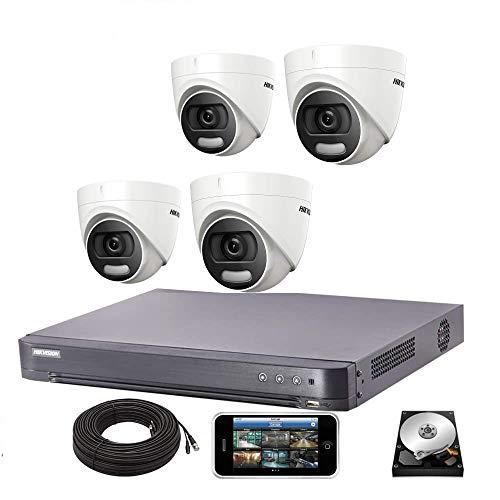 Hikvision CCTV System 4K DVR 5MP ColorVu Dome Camera IP67 20M UK - DS-7204HUHI-K1 - DS-2CE72HFT-F28 (4 cámaras, sin HDD)